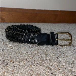 Genuine Braided Leather Belt Brass Buckle- XL